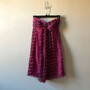 Express Strapless Pink Printed Mini Dress